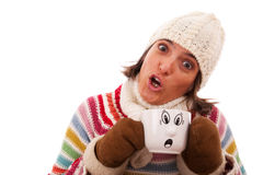 Surprised woman like her hot drink cup Royalty Free Stock Photos
