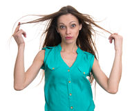 Surprised woman looking at camera in excitement Royalty Free Stock Images