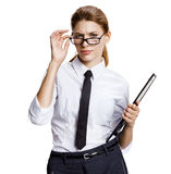 Surprised woman looking over glasses Royalty Free Stock Photography
