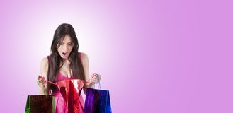 Surprised woman shopping royalty free stock photo