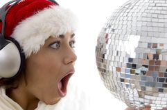 Surprised woman looking to disco ball and wearing Royalty Free Stock Photo