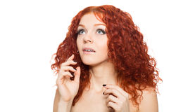 Surprised woman looking up. Beautiful surprised woman looking up Royalty Free Stock Image