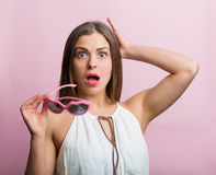 Surprised woman in love Royalty Free Stock Photography