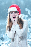 The surprised woman in a New Year's cap Stock Photography