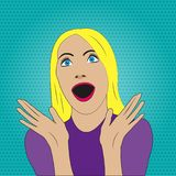 Surprised woman with open mouth in pop art style. Girl with emotion expression. Vector illustration. royalty free illustration