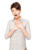 Surprised woman with an open mouth on a white background isolate Stock Images