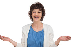 Surprised woman opening her arms Royalty Free Stock Image