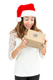 Surprised woman opening her gift box Royalty Free Stock Photos
