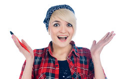 Surprised woman with paintbrush Stock Images