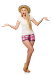 The surprised woman in pink plaid shorts isolated on white. Surprised woman in pink plaid shorts isolated on white Stock Images