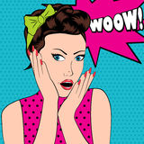 Surprised woman in pop art style with Wow sign. Stock Photography
