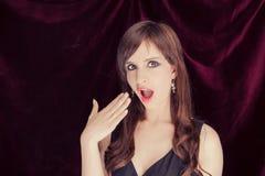 Surprised woman portrait - studio shot Stock Photos