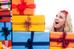 Surprised woman with presents Royalty Free Stock Images