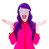 Surprised woman with purple hair and glasses covered by sugar ca Royalty Free Stock Photos
