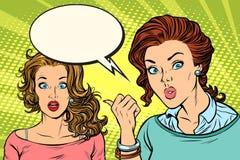 Surprised woman reaction to girlfriend. Pop art retro vector illustration comic cartoon vintage kitsch drawing royalty free illustration