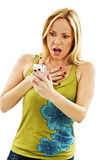 Surprised woman reading shocking sms text message Stock Photography