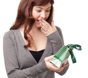 Surprised woman receiving a present Royalty Free Stock Photo