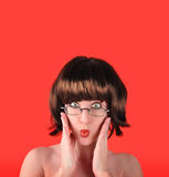 Surprised Woman with Red Background Royalty Free Stock Image