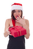 Surprised woman with santa hat Royalty Free Stock Photo