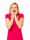 Surprised Woman Screaming Against White Background Royalty Free Stock Photos