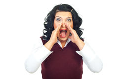 Surprised woman shouting Royalty Free Stock Photos