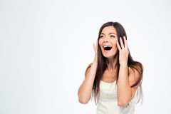 Surprised woman shouting Stock Images