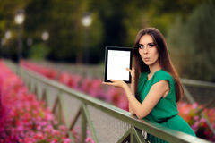 Surprised Woman Showing a Digital Tablet Display Stock Images