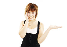 Surprised woman showing product Royalty Free Stock Photography