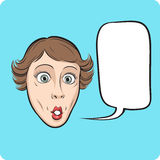 Surprised woman with speech bubble Royalty Free Stock Photography