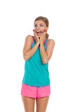 Surprised Woman In Sport Clothes Shouting Stock Photography