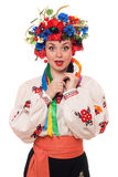 Surprised woman in the Ukrainian national clothes Stock Images