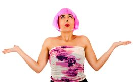 Surprised woman with a wig Royalty Free Stock Images