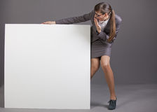 Surprised Woman With Blank Board Royalty Free Stock Photo