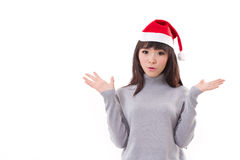 Surprised woman with X'mas santa hat with text space Stock Photos