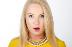 Surprised woman in yellow dress Royalty Free Stock Photography