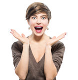 Surprised woman. Young excited beauty Stock Images