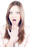 Surprised & wonder Beautiful young woman isolated Stock Photo