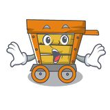 Surprised wooden trolley mascot cartoon. Vector illustration royalty free illustration