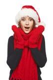 Surprised Xmas woman Stock Photography