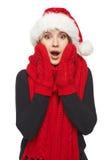 Surprised Xmas woman Stock Photos