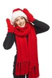 Surprised Xmas woman Stock Photo