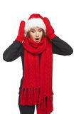 Surprised Xmas woman Royalty Free Stock Photography