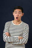 Surprised young Asian man with crossed hands Royalty Free Stock Photo