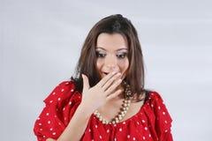 Surprised young beautiful woman Stock Photos