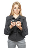 Surprised young blonde in a gray business suit Stock Photos
