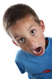 Surprised young boy in bright blue clothing stock photo