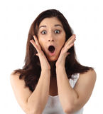Surprised young brunette woman Royalty Free Stock Images
