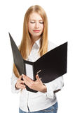 Surprised young business woman with black folder on white backgr Royalty Free Stock Photo
