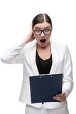 Surprised young business woman looking at folder Royalty Free Stock Photo