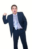 Surprised young businessman with clenched fist Royalty Free Stock Photo
